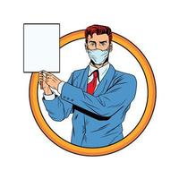 businessman using face mask for covid19 with banner vector
