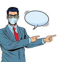 businessman using face mask for covid19 with speech bubble vector