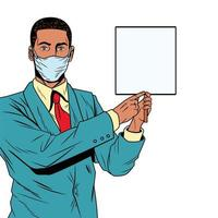 black businessman using face mask for covid19 with banner vector