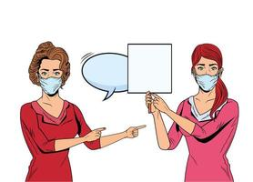 women using face masks for covid19 with banner and speech bubble vector