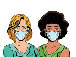 mujeres interraciales que usan máscaras faciales para covid19 vector