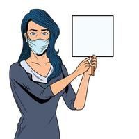 woman using face mask for covid19 with banner vector
