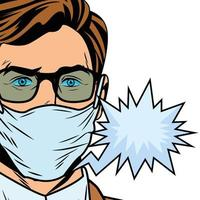 man using face mask for covid19 with speech bubble pop art vector