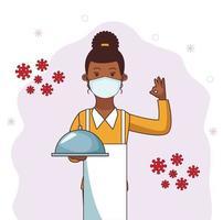 female waitress using face mask vector