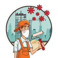 trabajador de la construcción con mascarilla para covid19 vector