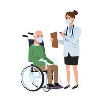 female doctor with old man in wheelchair vector