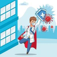 super doctor with hero cloak and shield vs covid19 in the city vector