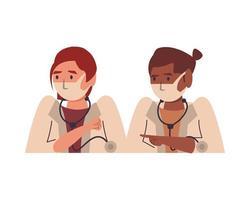 doctoras interraciales usando personajes de mascarillas vector