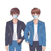 chicos jóvenes que usan máscaras faciales personajes de anime vector