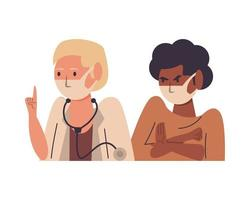 female doctor with patient using face masks vector
