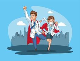 super doctors vs covid19 in the city vector