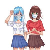 girls using face masks anime characters vector