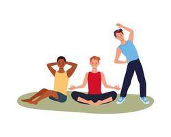 interracial male athletes exercising together vector