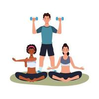 interracial athletes exercising together vector