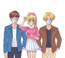 jóvenes que usan máscaras faciales personajes de anime vector