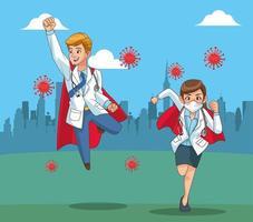 super doctors vs covid19 on the field vector