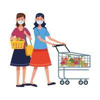 mujeres que usan mascarillas en el supermercado vector