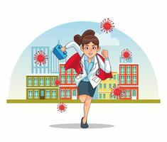 super female doctor with hero cloak running in the city vector