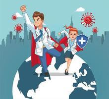 super doctores vs covid19 con mapa del mundo
