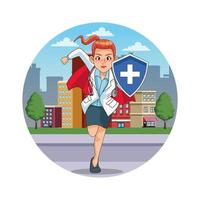 super female doctor with hero cloak and shield in the city vector