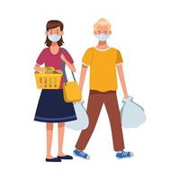 couple using face masks in supermarket vector