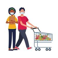 Pareja interracial con mascarillas en el supermercado vector