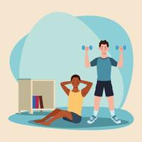 hombres interraciales practicando ejercicio en la casa vector