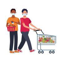 interracial men using face masks in supermarket vector