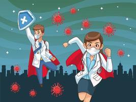 super doctores vs covid19 en la ciudad vector