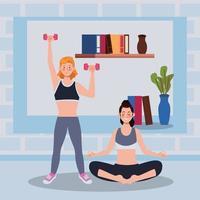 mujeres practicando ejercicio en la casa vector