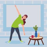 woman practicing exercise in the house vector