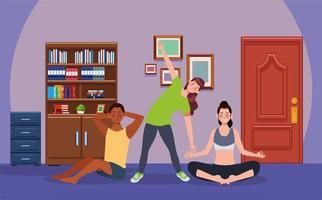 personas interraciales practicando ejercicio en la casa. vector