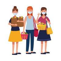 women using face masks in supermarket vector