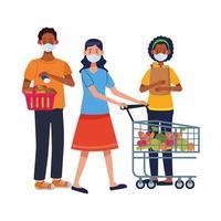 Personas interraciales con mascarillas en el supermercado vector