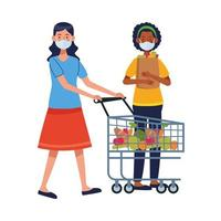 interracial women using face masks in supermarket vector
