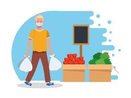 Hombre de compras en el supermercado con mascarilla vector