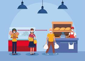 people shopping in supermarket with face mask vector
