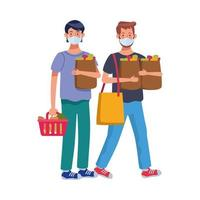 men using face masks in supermarket vector