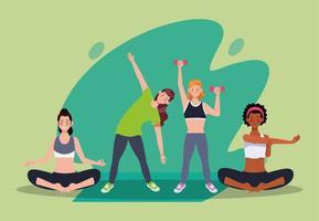 mujeres interraciales practicando ejercicio en la casa vector