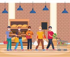 gente de compras en el supermercado con mascarilla vector
