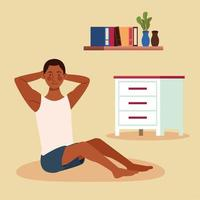 black man practicing exercise in the house vector