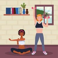 interracial women practicing exercise in the house vector