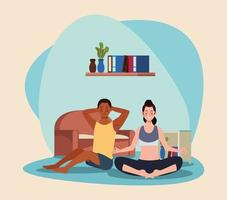 interracial couple practicing exercise in the house vector