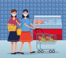 mujeres de compras en el supermercado con mascarilla vector