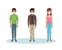 Personas interraciales que usan personajes de máscaras faciales. vector