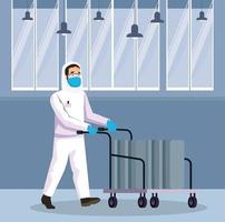 biohazard cleaning person with cart character vector