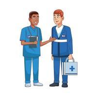 professional paramedics avatars characters icons vector