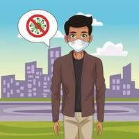 man using face mask with stop covid19 sign in the street vector