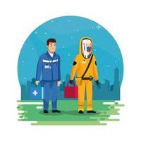biohazard cleaning person with paramedic in the park vector