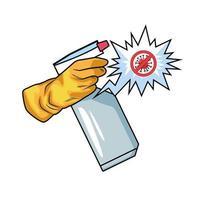 use el método de prevención de salpicaduras de desinfectante covid19 vector
